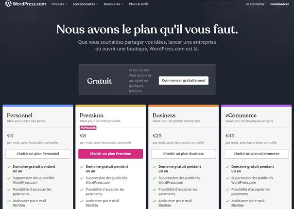 Tarification WordPress.com | Agence Fabrilab